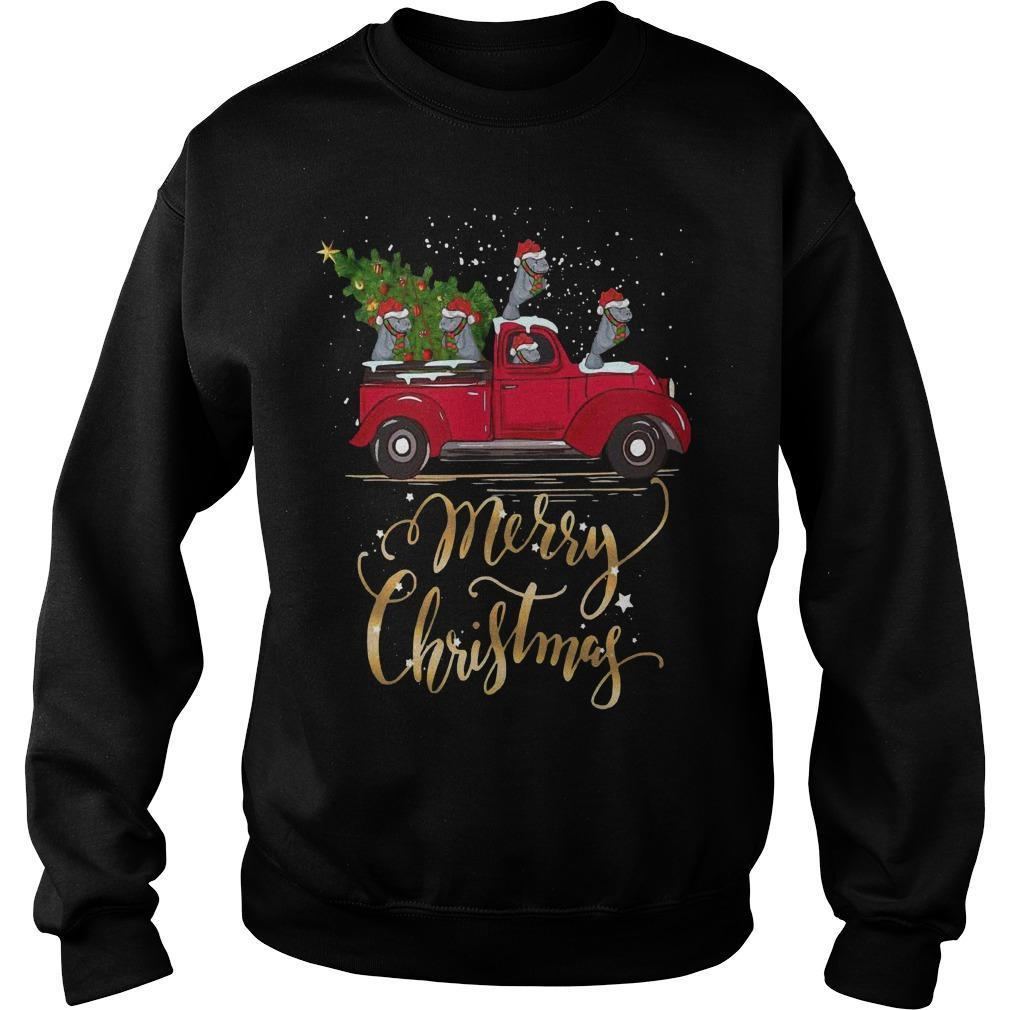 Hippopotamus With Red Truck Tree Merry Christmas Sweater