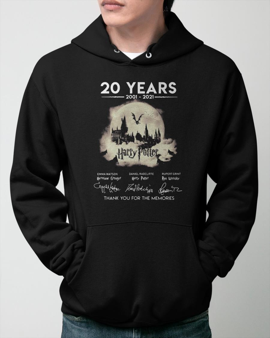 20 Years 2001 2021 Harry Potter Signatures Thank You For The Memories Hoodie