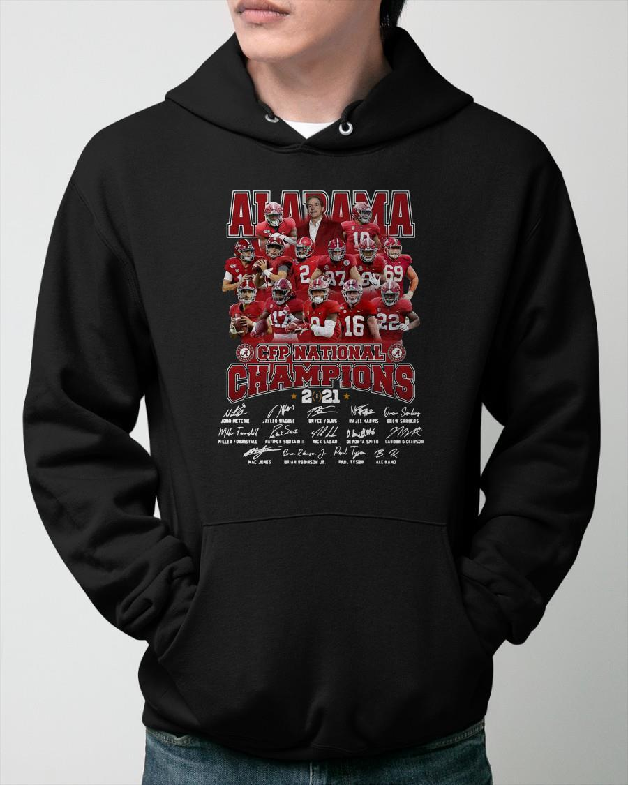Alabama Crimson Tide 2021 Cfp National Champions Team Signatures Hoodie