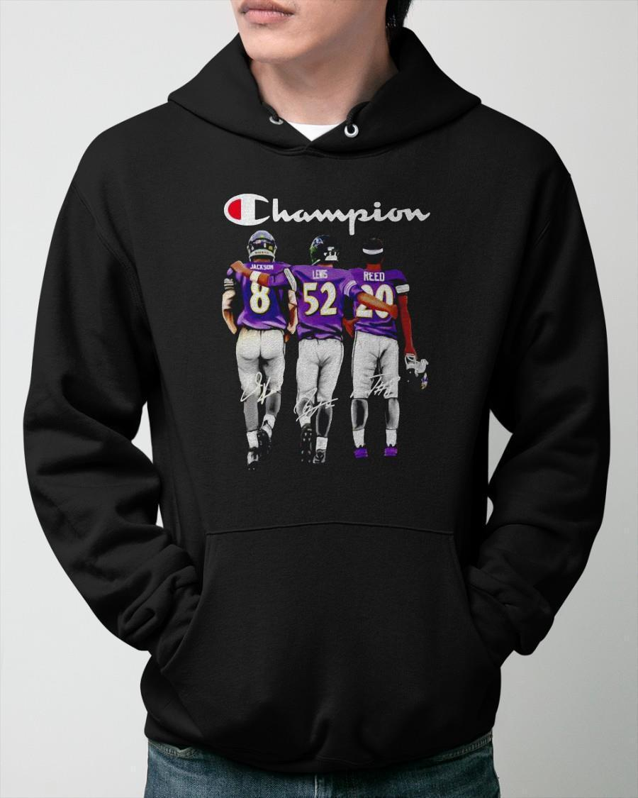 Champion Baltimore Ravens Jackson Lewis And Reed Signatures Hoodie