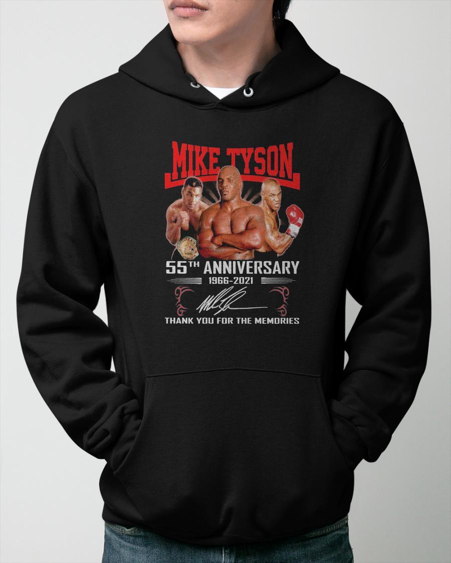 Mike Tyson 55th Anniversary 1966 2021 Signature Thank You For The Memories Hoodie