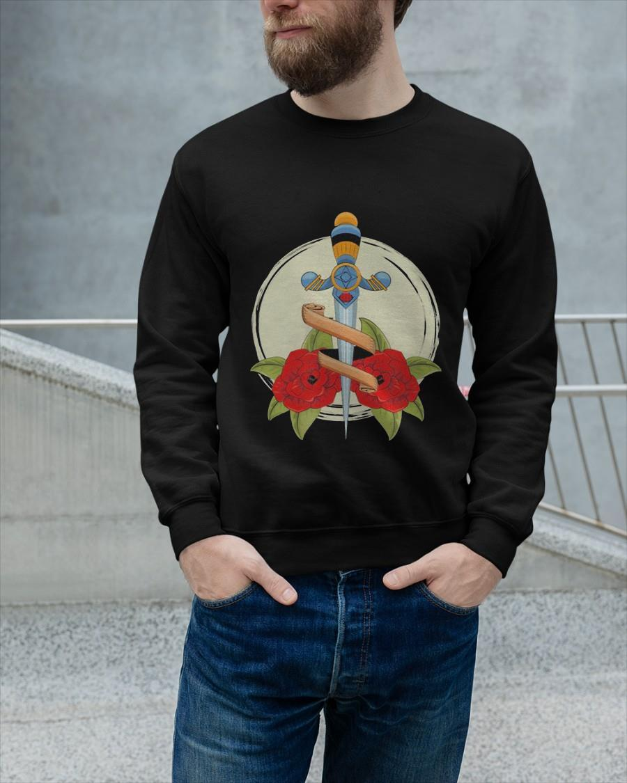 Old School Badass Traditional Tattoo Roses and Sword Sweater