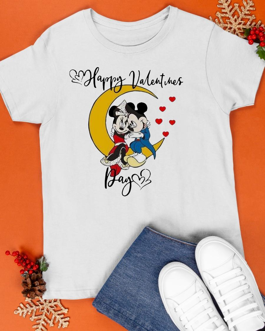 Valentine's Day Mickey Mouse And Minnie Mouse Happy Valentines Day Shirt