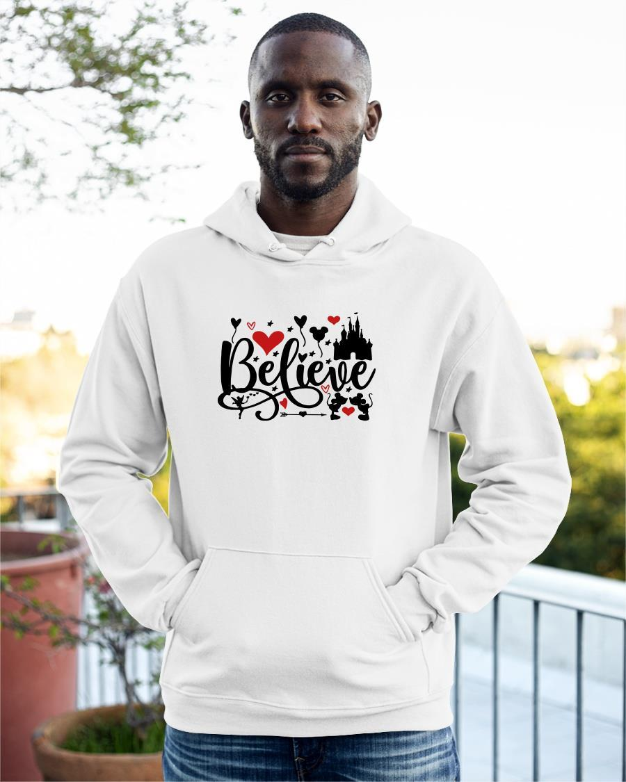 Valentine Day Mickey Mouse And Minnie Mouse Disney Believe Hoodie