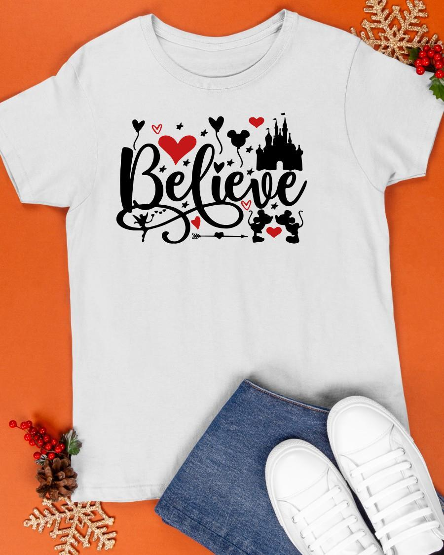 Valentine Day Mickey Mouse And Minnie Mouse Disney Believe Shirt