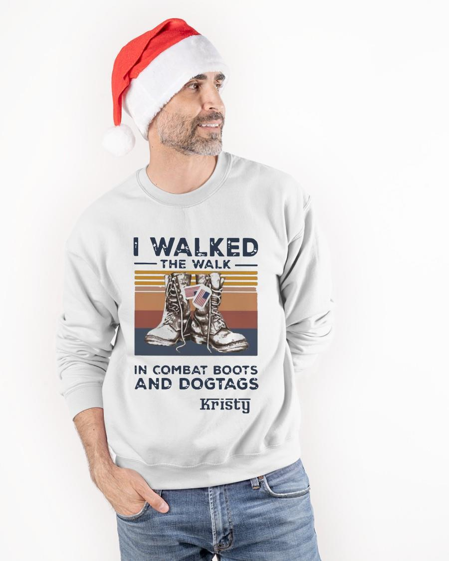 Vintage I Walked The Walk In Combat Boots And Dogtags Kristy Sweater