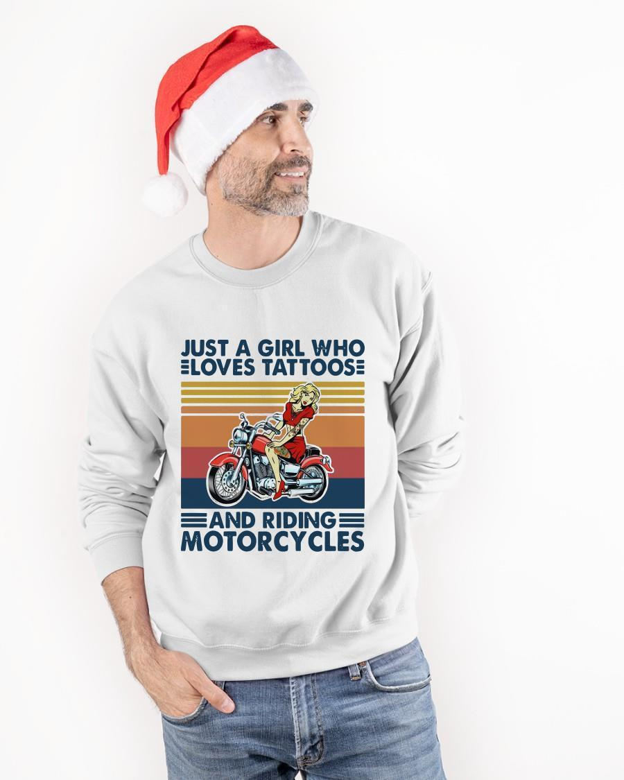 Vintage 2021 Just Girl Who Loves Tattoos And Riding Motorcycles Sweater