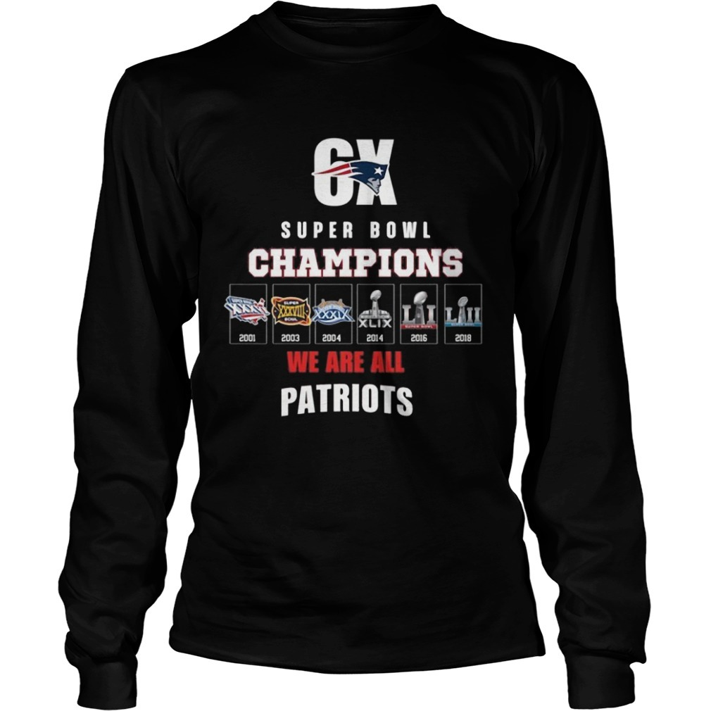 6x Super Bowl Champions Patriots Long Sleeve Tee