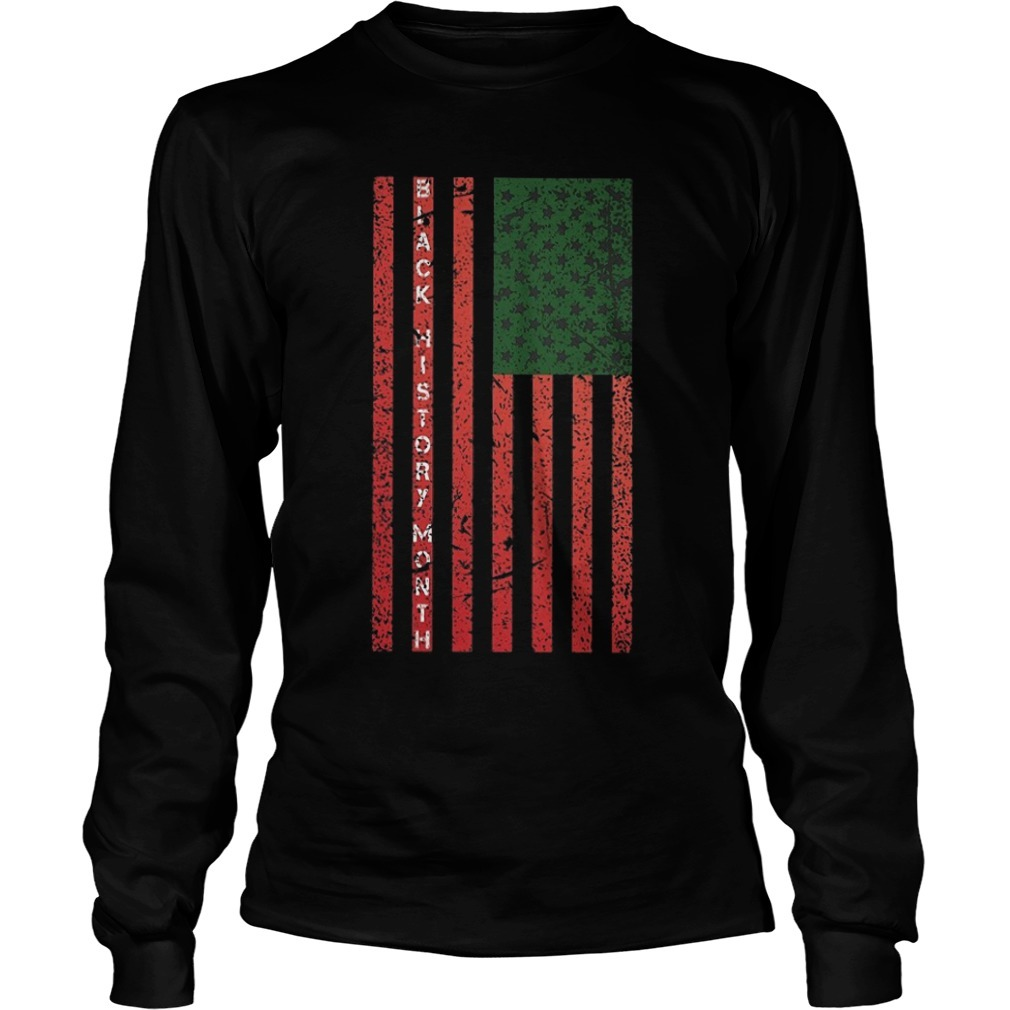 Black History Month Flag Long Sleeve Tee