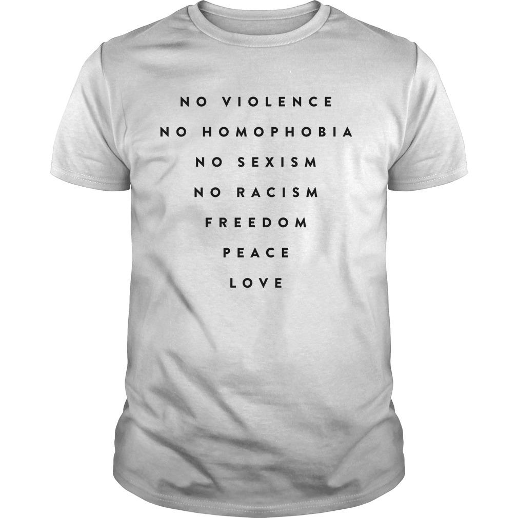 Daniel Bryan No Violence No Homophobia No Sexism No Racism Freedom Peace Love Shirt