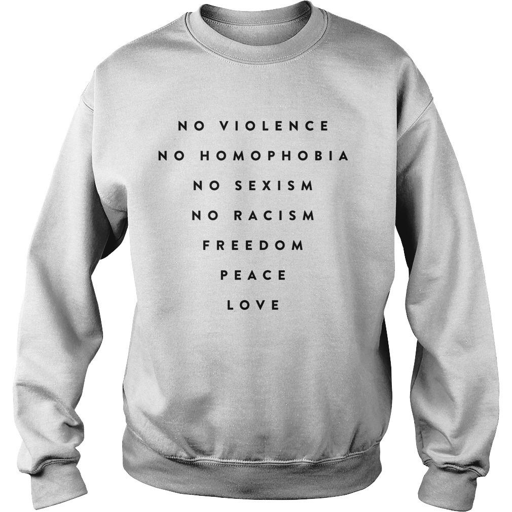 Daniel Bryan No Violence No Homophobia No Sexism No Racism Freedom Peace Love Sweater