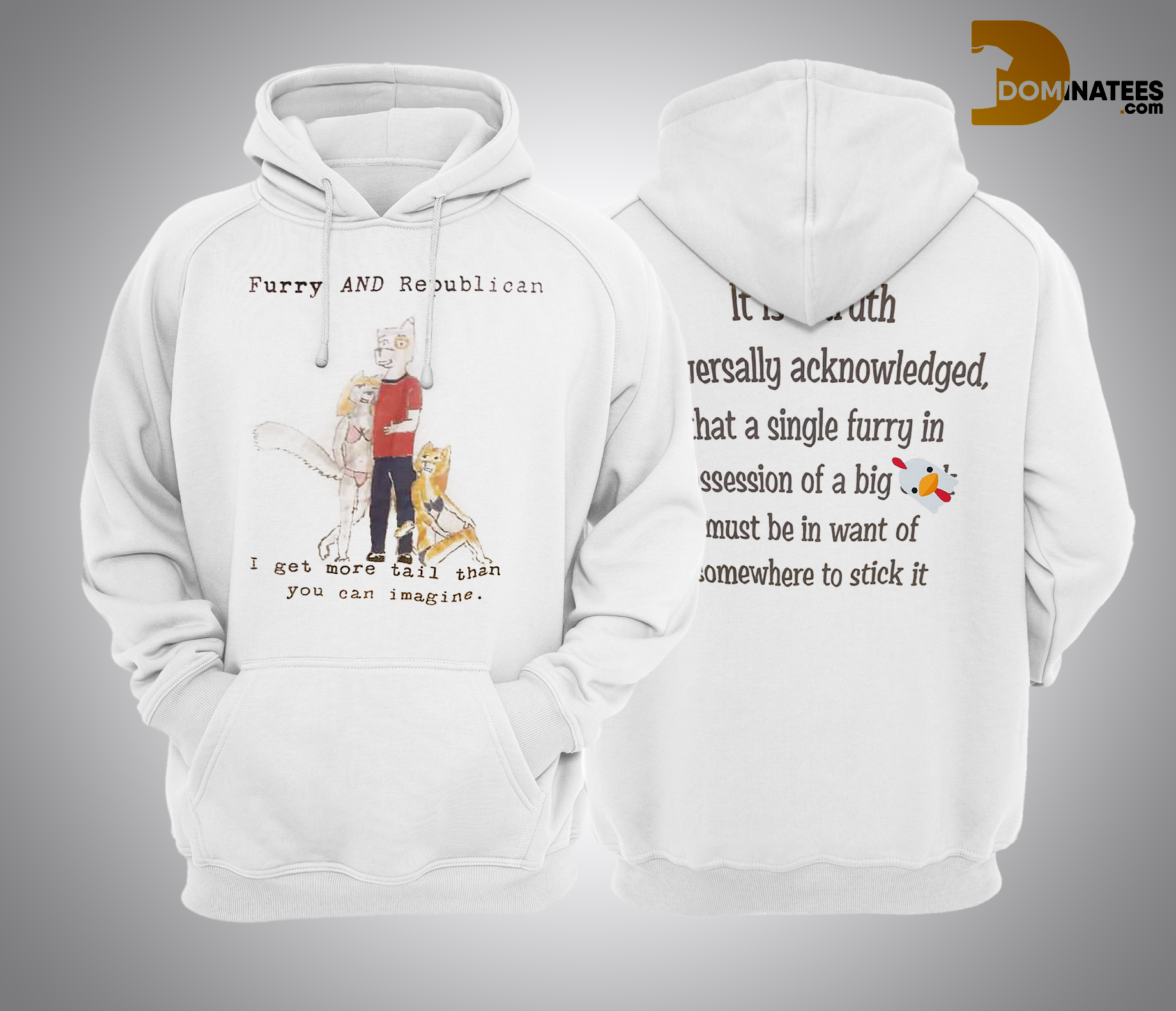 Rise & Wine Furry And Republican I Get More Tail Than You Imagine Hoodie