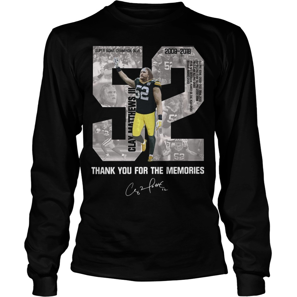 Clay Matthews 52 Thank You For The Memories Long Sleeve Tee