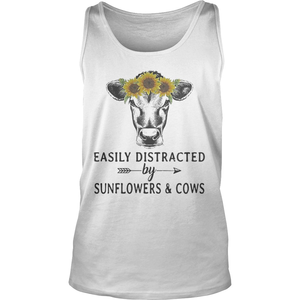 Easily Distracted By Sunflower And Cows Tank Top