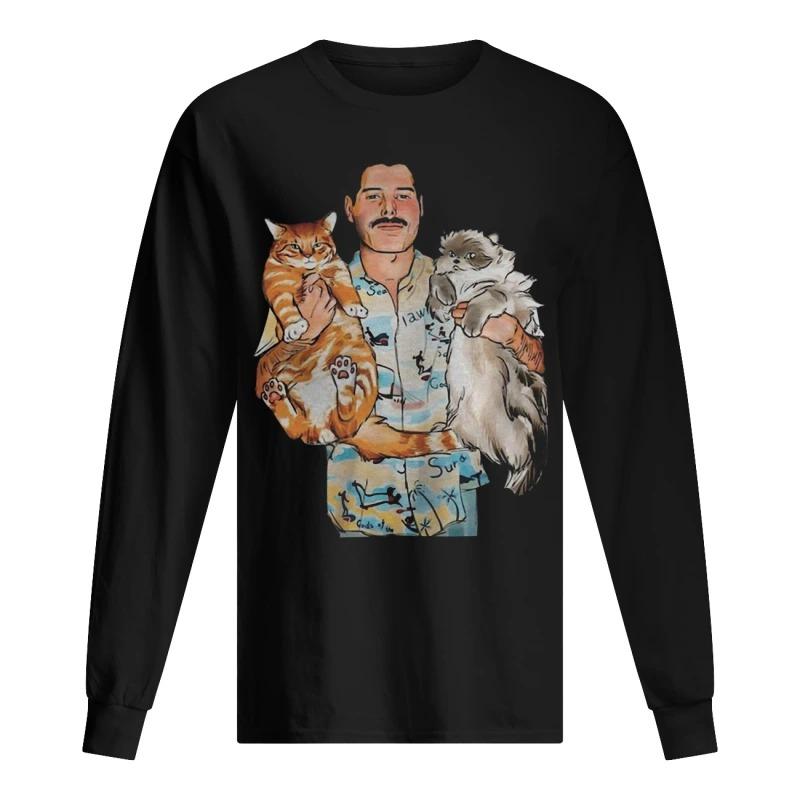 Freddie Mercury Hug Cats Long Sleeve Tee