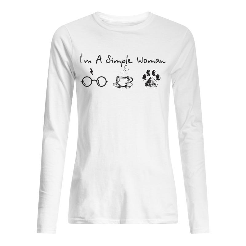 I'm A Simple Woman I Like Harry Potter, Coffee and Paw Dog Long Sleeve Tee