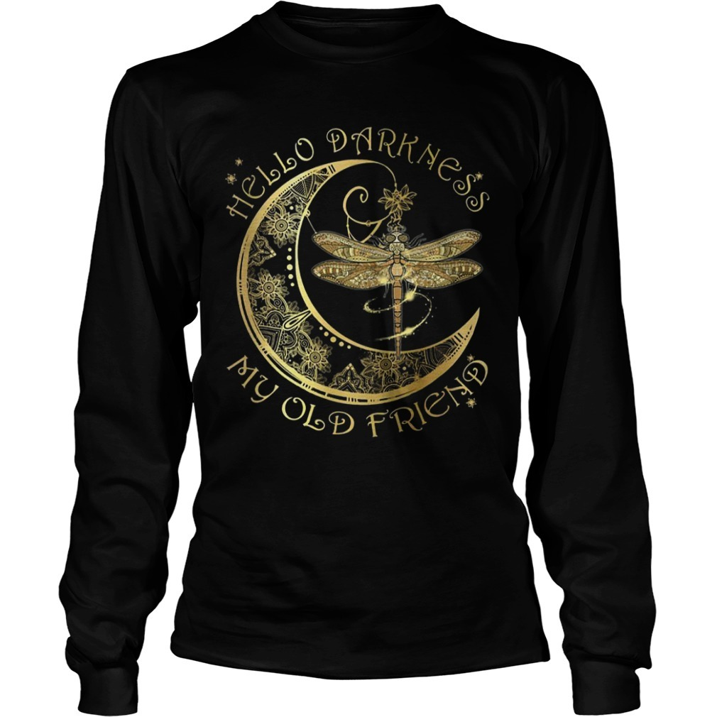 Moon Dragonfly Hello Darkness My Old Friend Long Sleeve Tee