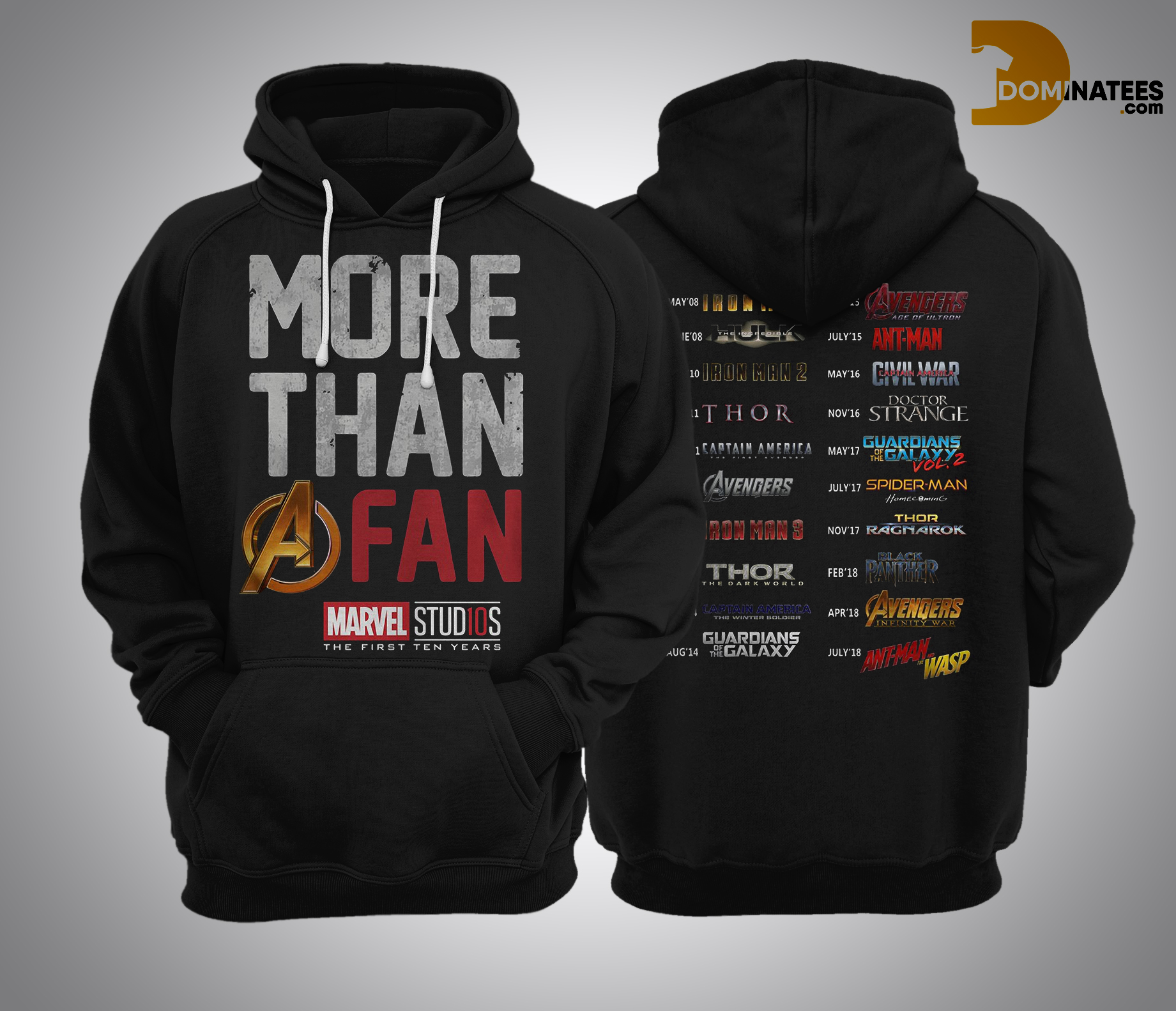 More Than A Fan Marvel Marvel Studios The First Ten Years Hoodie