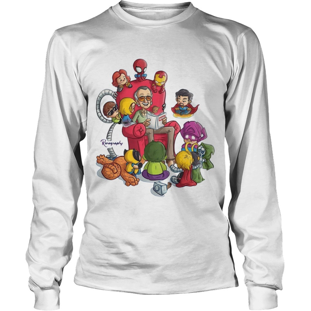 Stan Lee and superhero renography Long Sleeve Tee