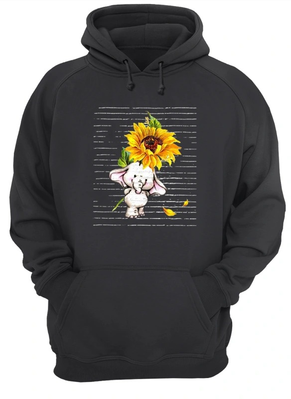 Sunflower Baby Elephant Cute HoodieSunflower Baby Elephant Cute Hoodie