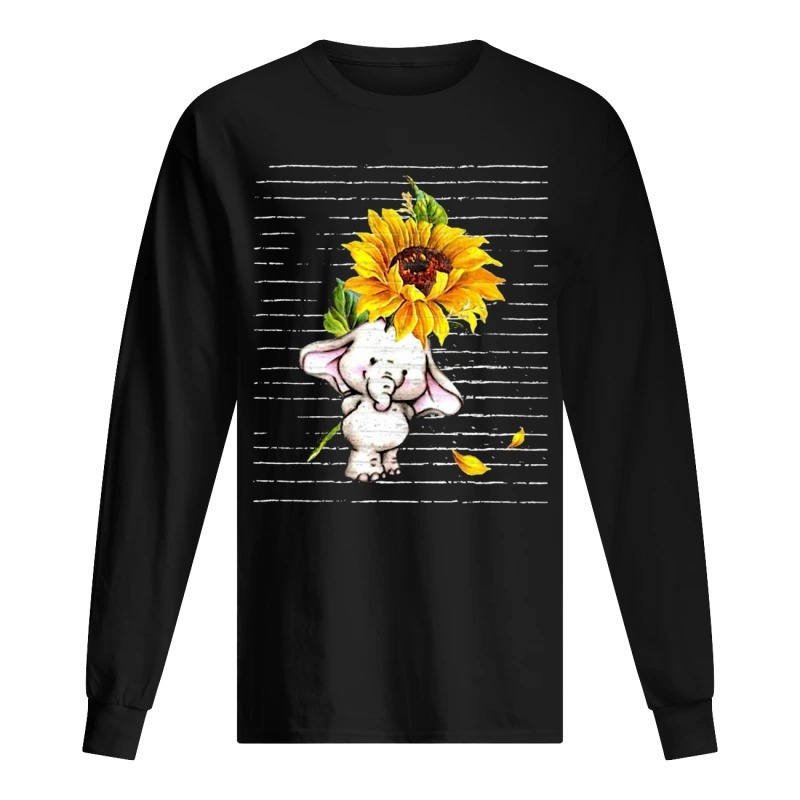 Sunflower Baby Elephant Cute Long Sleeve Tee