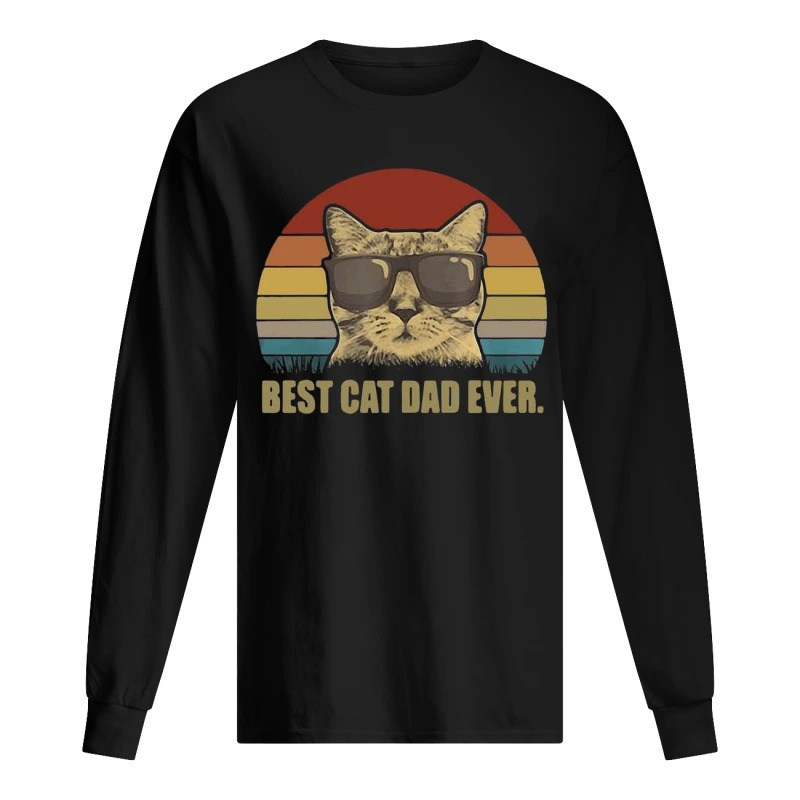 Sunset Best Cat Dad Ever Long Sleeve Tee