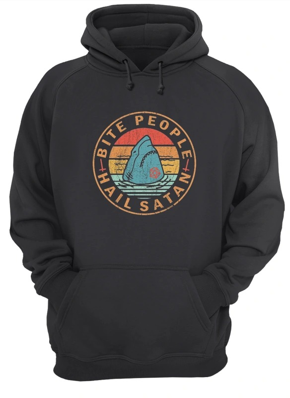 Sunset Shark Bite People Hail Satan Hoodie