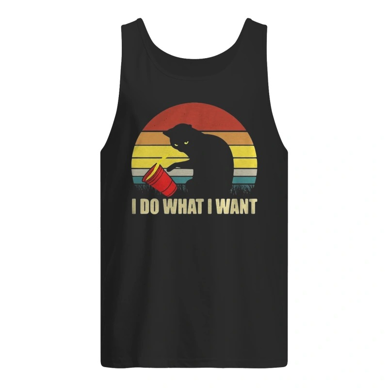 Sunset Vintage Cat I Do What I Want Tank Top