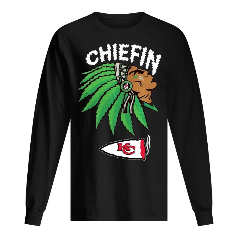 kansas city chiefs marijuana smoke weed chiefin Long Sleeve Tee