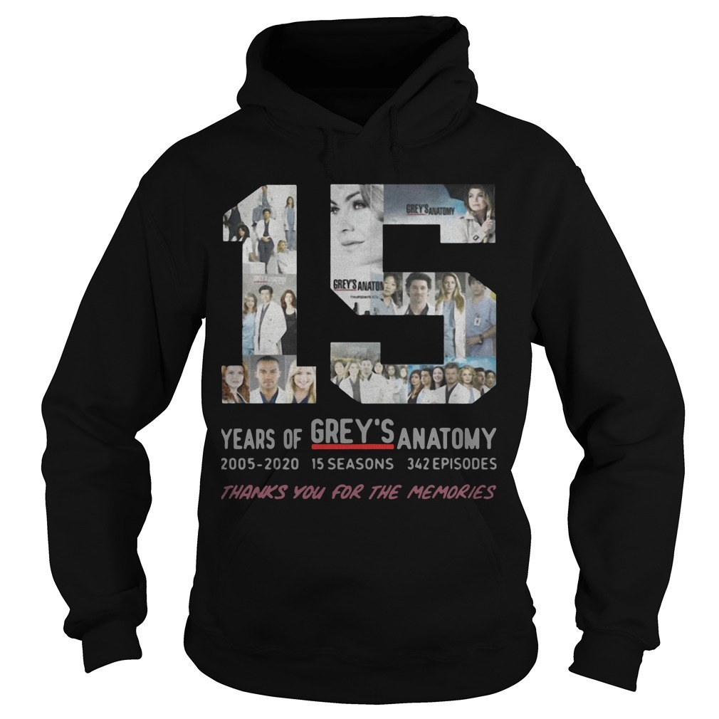 15 Years Of Grey's Anatomy Thank You For The Memories Hoodie