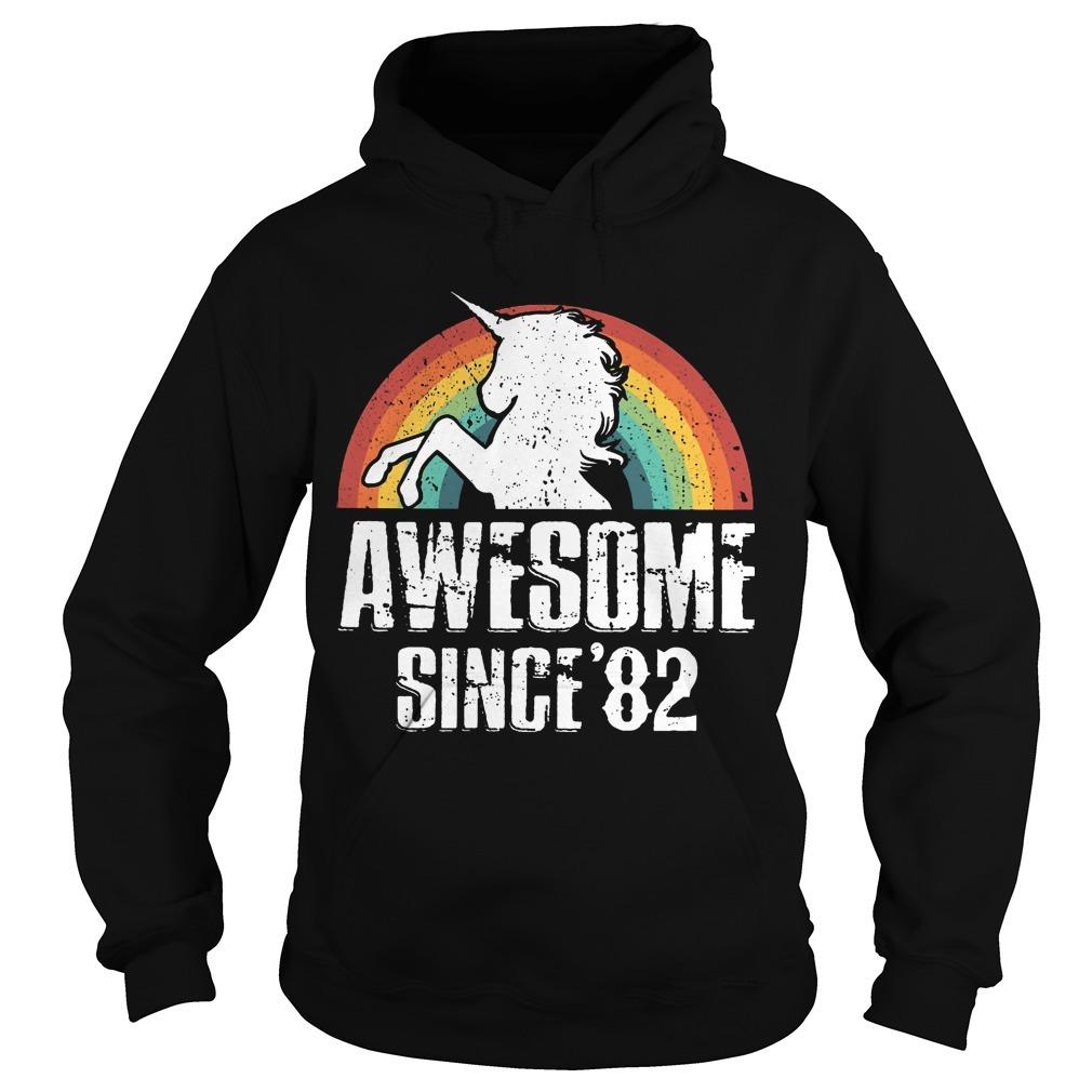 Rainbow Unicorn Awesome Since 82 Hoodie