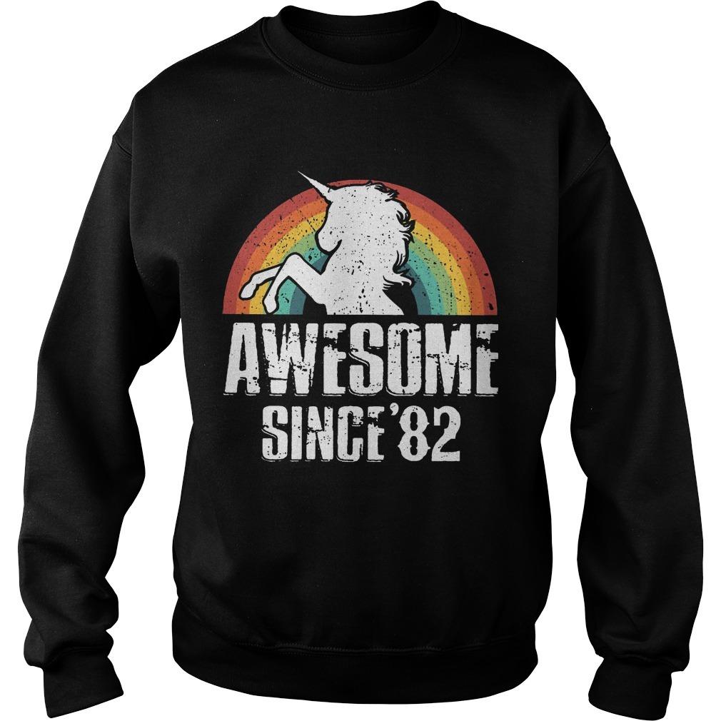 Rainbow Unicorn Awesome Since 82 Sweater