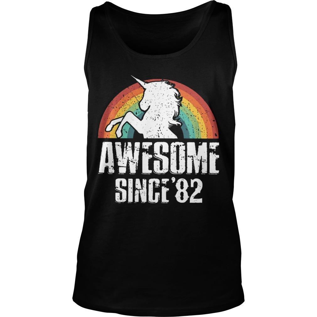 Rainbow Unicorn Awesome Since 82 Tank Top