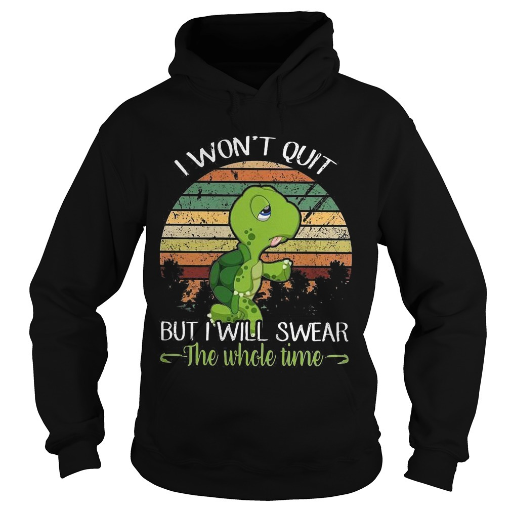 Sunset Turtle I Won't Quit But I'll Swear The Whole Time Hoodie