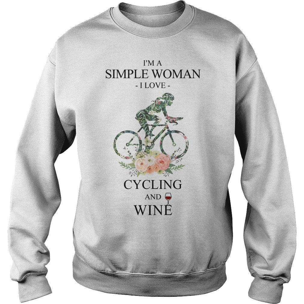 Floral I'm A Simple Woman I Love Cycling And Wine Sweater