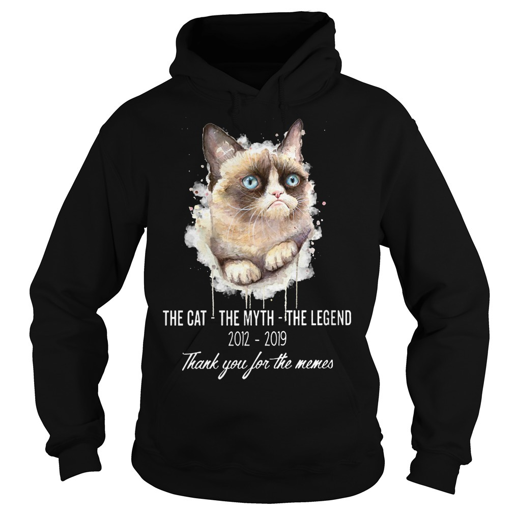 Grumpy Cat The Cat The Myth The Legend 2012 2019 Thank You For The Memes Hoodie
