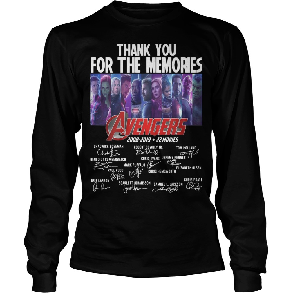 Thank You For The Memories Avengers 2008 2019 22 Movies Long SLeeve Tee
