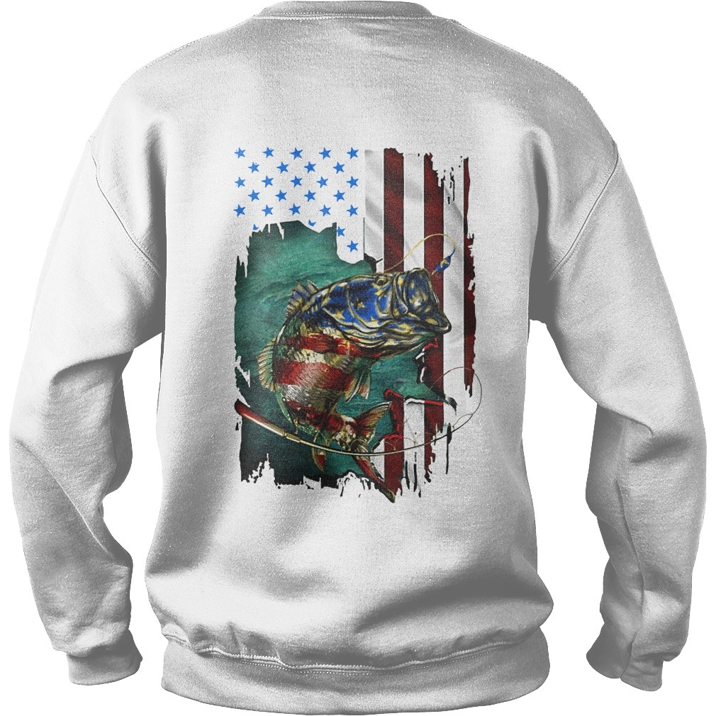 American Flag Fishing Salmon Sweater