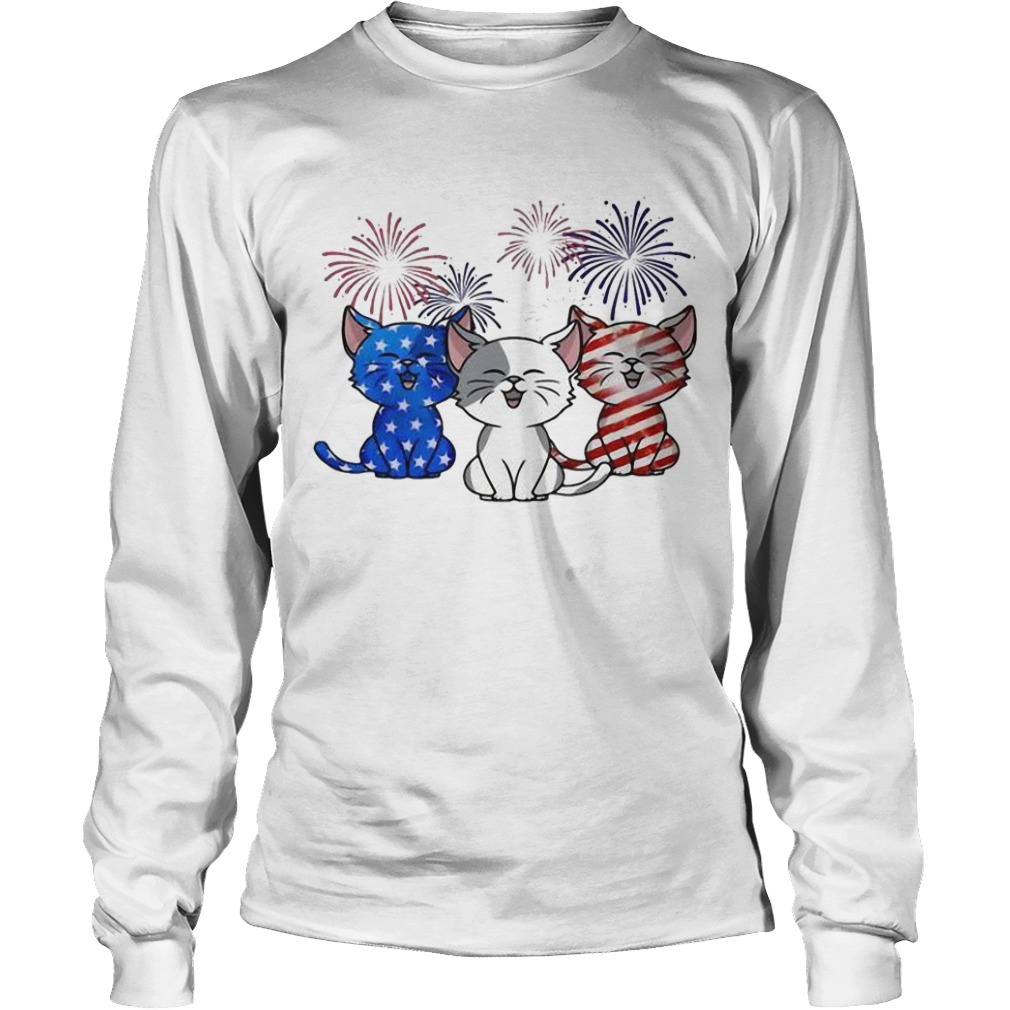 American Flag Three Cats Red White And Blue Long Sleeve Tee