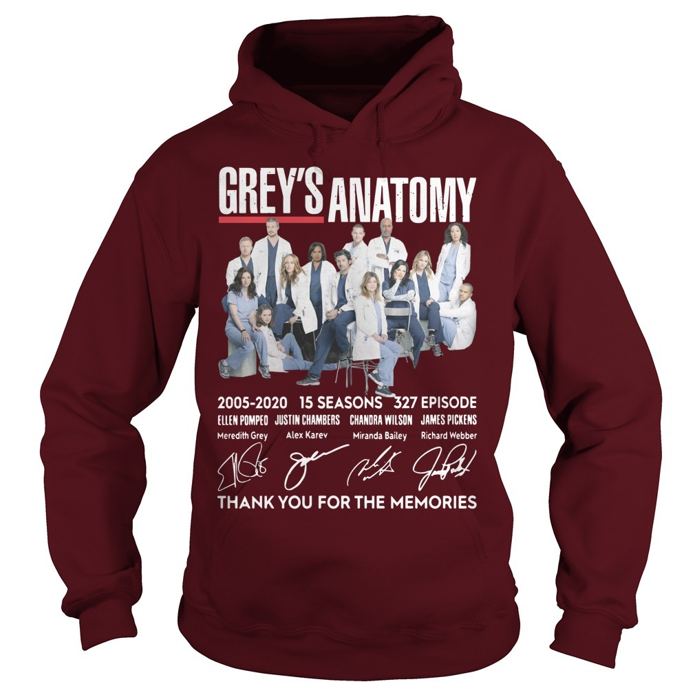 Grey's Anatomy 2005 2020 15 Seasons 327 Episode Thank You For The Memories Hoodie