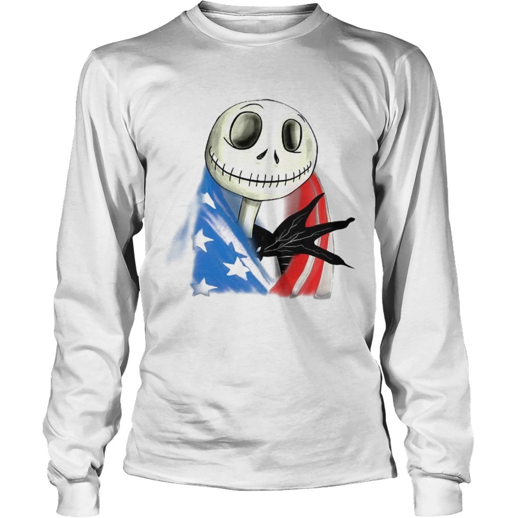 Jack Skellington American Flag Long Sleeve Tee