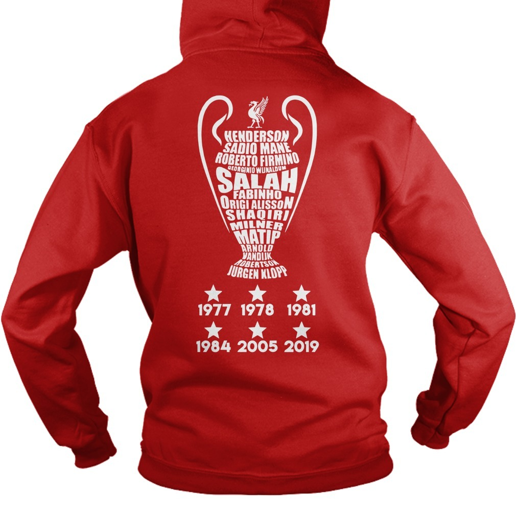Liverpool Fc Standard Chartered Cup 1977 1978 1981 1984 2005 2019 Hoodie