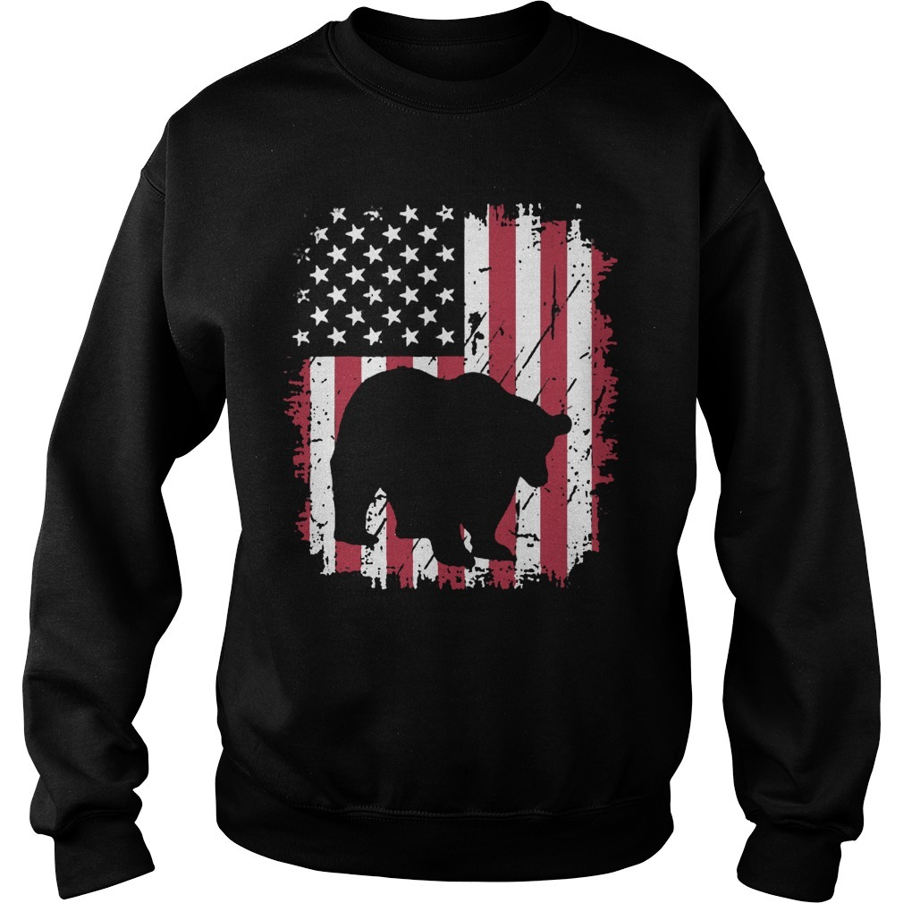 Vintage American Flag 4th Of July Patriotic Panda Bear Sweater
