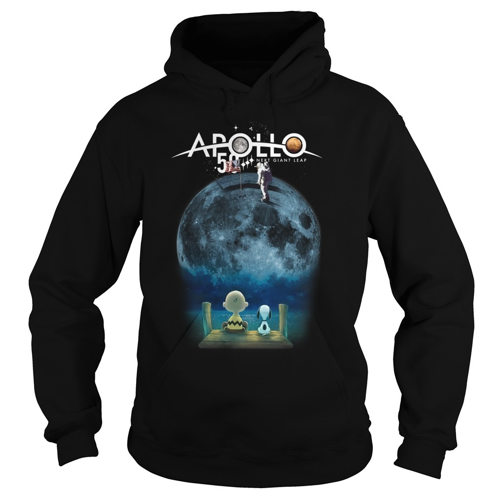 Charlie And Snoopy Watching Moon Landing Apollo 11 50th Anniversary Hoodie