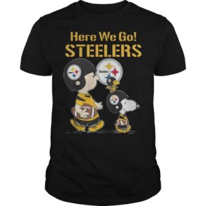 Charlie Brown Snoopy And Woodstock Here We Go Steelers Shirt