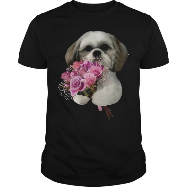 Shih Tzu Holds A Bunch Of Roses