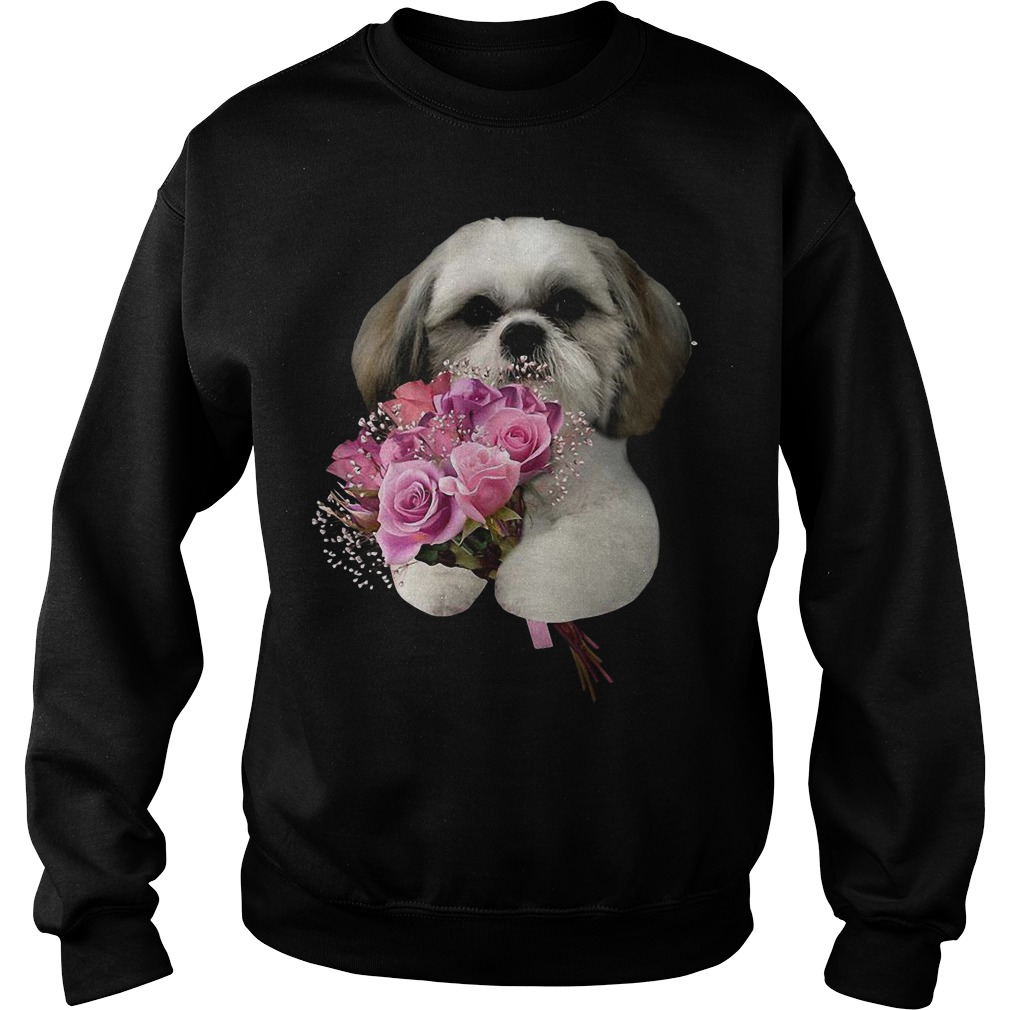 Shih Tzu Holds A Bunch Of Roses Sweater