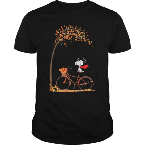 Snoopy Riding Bicycle Autumn Leaf Tree