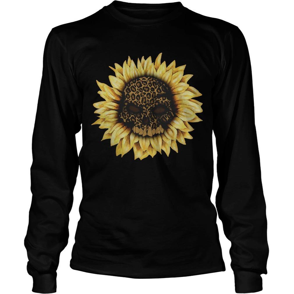 Leopard Print Sunflower Skull Longsleeve