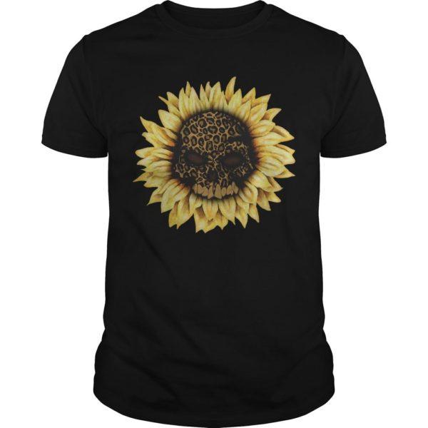 Leopard Print Sunflower Skull Shirt